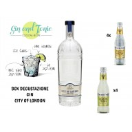 Box degustazione GIN CITY OF LONDON abbinato  4 INDIAN TONIC FEVER-TREE e 4 LEMON TONIC FEVER-TREE